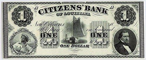 (1860 GEM CRISP UNICRC CITIZENS' BANK NEW ORLEANS LOUISIANA $1 BILL w SAILOR, PRO-SLAVERY U.S. PRESIDENT $1 Gem Crisp Uncirculated)