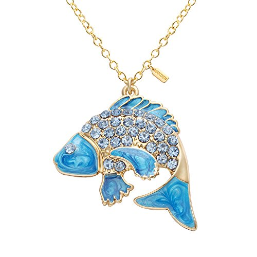 MANZHEN Fashion Gold Diamond Lucky Koi Fish Charm Pendant Necklace for (Fish Charms)