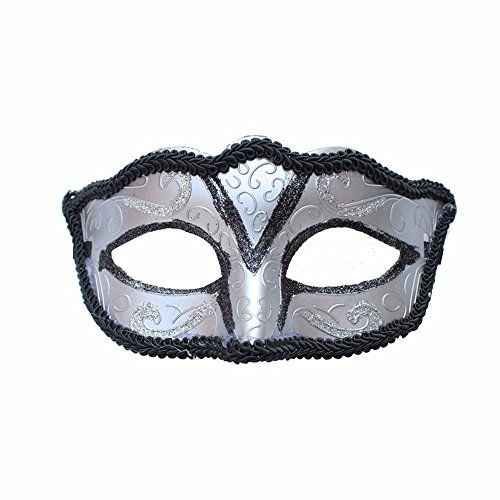 Face mask Shield Veil Guard Screen Domino False Front Child mask Halloween mask Male and Female Makeup Dance mask Half face mask Silver -