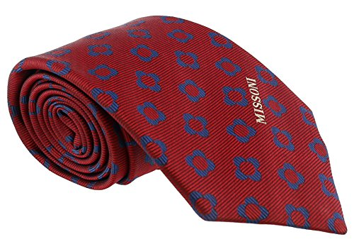 - Missoni Four Petal Floral Red Woven 100% Silk Tie for mens