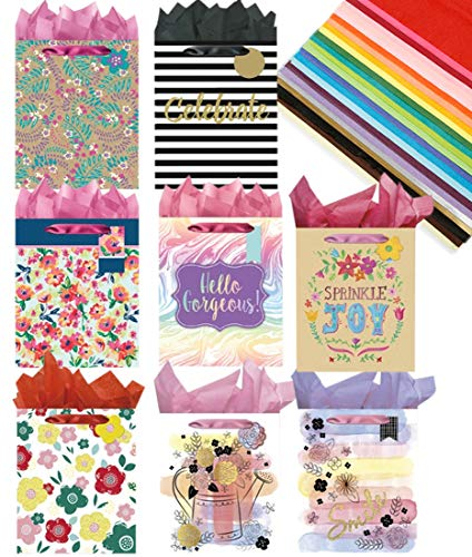 All Occasion Floral Modern Everyday Paper Gift Bags with Tissue Paper and Handles, 8 pc. Multicolor Gift Wrapping Bags -