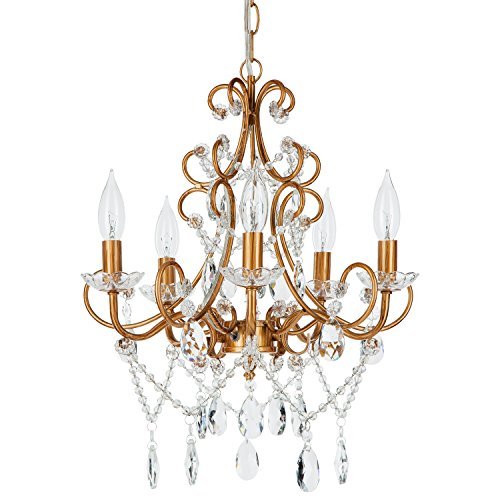 Theresa Vintage Gold Crystal Chandelier, 5 Light Swag Plug-In Glass Pendant Wrought Iron Ceiling Lighting Fixture Lamp (Crystal Gold Vintage)