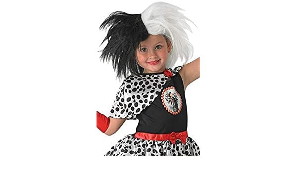 Original Con Licencia Disney Para Niñas Blanco y negro Cruella De Ville VILLANO Disfraz Accesorio Peluca: Amazon.es: Ropa y accesorios