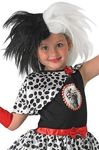 Original Con Licencia Disney Para Niñas Blanco y negro Cruella De Ville VILLANO Disfraz Accesorio Peluca