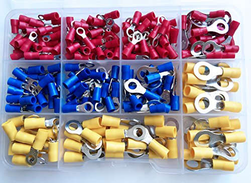 AIRNIX-225-Piece-Solderless-Insulated-Crimp-Ring-Terminal-Connector-Set-22-10-AWG-10-Sizes