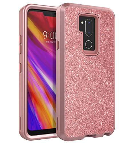 TOPSKY LG G7 Case/LG G7 ThinQ Case Glitter Bling Shiny Cute Girls Case Three Layer Shockproof Heavy Duty High Impact Resistant Protective Case,Rose Gold