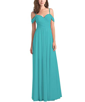 d87fbc39317 Women s Off The Shoulder Pleated A Line Bridesmaid Dresses Long Chiffon  Evening Prom Gown Aqua Blue