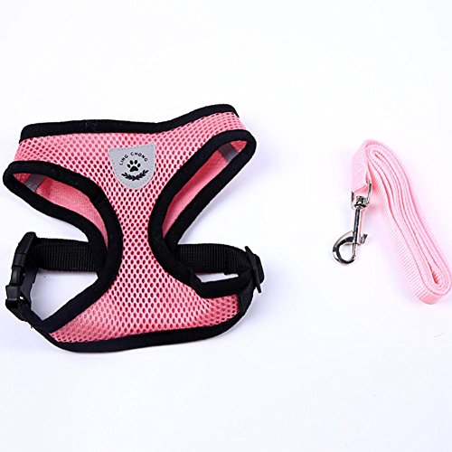 Vanvler Pet Collar, Dog Chest Straps Adjustable Leads Rope for Small Pet (S, Pink)