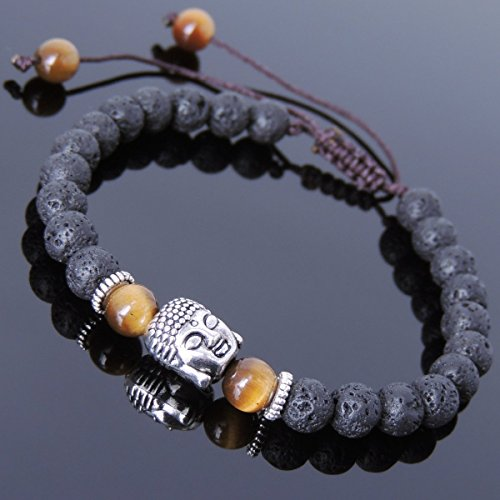 Men and Women Adjustable Braided Bracelet Handmade with Lava Rock, Brown Tiger Eye and No Lead & Nickle Tibetan Silver Sakyamuni Buddha & Spacers T227