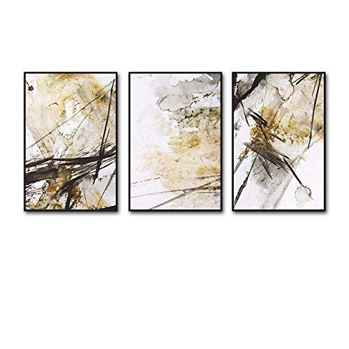 Xixuan Store Photo Wall 3 Multi Mural Set Solid Wood Abstract Art Triptych Living Room Mural for Living Room/with Pictures Photo Fram for Desk (Color : 50cmx70cm|Classic Black Box)