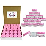 (Quantity: 100 Pcs) Beauticom 5G/5ML High Quality Clear Plastic Cosmetic Container Jars with PINK Lids