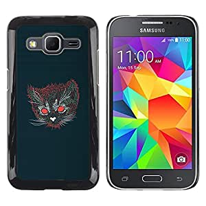 Caucho caso de Shell duro de la cubierta de accesorios de protección BY RAYDREAMMM - Samsung Galaxy Core Prime - Gato psicodélico