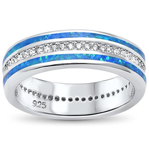 Sterling Channel Inlay - Sterling Silver Channel Set Lab Created Opal Inlay Band Ring Sizes 6
