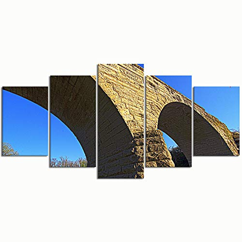 Stone Arch Bridge - WINCAN Paintings Modern Canvas Painting Wall Art Pictures 5 Pieces Clements Stone Arch Bridge Wall Decor HD Printed Posters Frame