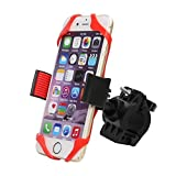 """Bike Phone Holder Cellphone Mount - Motorcycle Bicyle Handlebars Adjustable Fits iPhone 6s, 6s Plus, iPhone 7, 7 Plus, Galaxy S7, S6, S5, GPS Device Holds Phones Up To 3.5"""" Wide (Red)"""