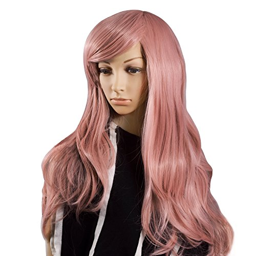 Krodi Wig for Women Anime Cosplay Wigs with Girls Fashion Long Wavy Curly Hair Pink Party Costume Wigs 28