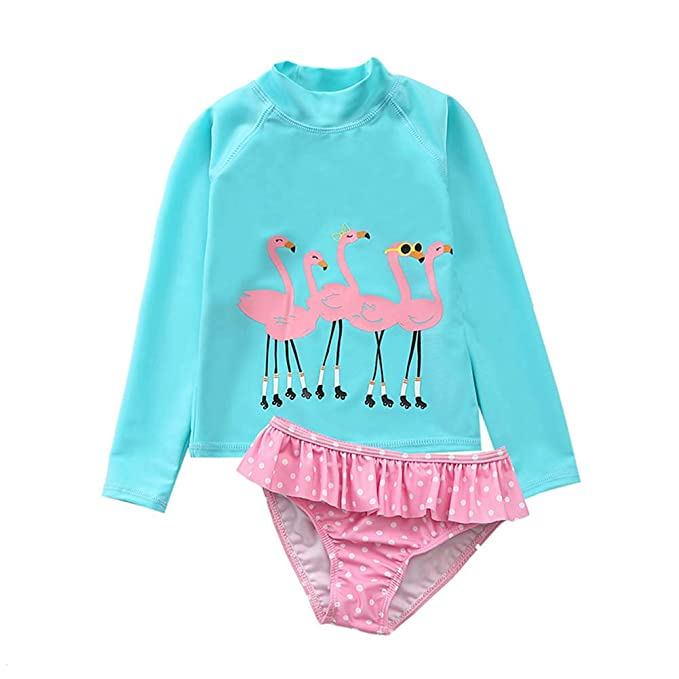 efbce347e814d Amazon.com: Toddler Baby Girls Long Sleeve Two Piece Bathing Suit for Kids  2Pcs Rash Guard Swimsuit Set with UPF 50+ Sun Protection: Clothing