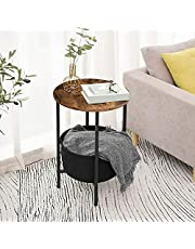 Bedside Table Simple Solid Wood Cabinet Light luxu Round Industrial Side Sofa End Table Rustic Metal Furniture Small Lamp Storage