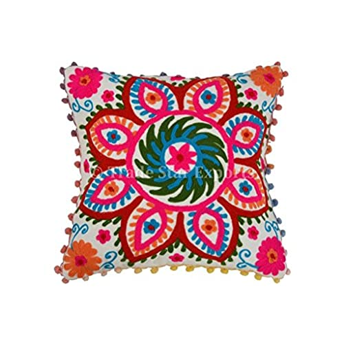 brown cushion cover pillow embroidered with boho pillows decorative ari in bright bohemian embroidery throw couch pl n dbrn sofa colorful