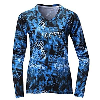 Women's Performance Long Sleeve Fishing Shirt UPF50+ Rash Guard V-Neck Athletic Workout Tops Moisture Wicking at Women's Clothing store