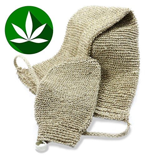 LVG All Natural Hemp Back and Body Scrubber. Exfoliates, Beautifies, Environmentally Friendly. Includes Hand Mitt (Antibacterial Body Sponge)