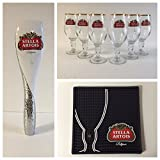Stella Artois Draft Kit - 6 33cl Glasses - 1 Tap Handle - 1 Black Bar Mat
