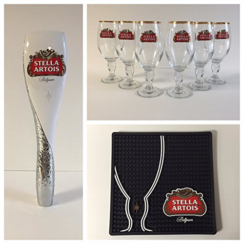 Stella Artois Draft Kit - 6 33cl Glasses - 1 Tap Handle - 1 Black Bar Mat by Stella Artois