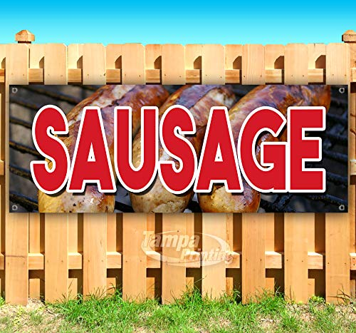 Sausage 13 oz Heavy Duty Vinyl Banner Sign with Metal Grommets, New, Store, Advertising, Flag, (Many Sizes Available)