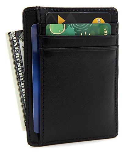 DEEZOMO RFID Blocking Genuine Leather Credit Card Holder Front Pocket Wallet With ID Card Window - Napa Black