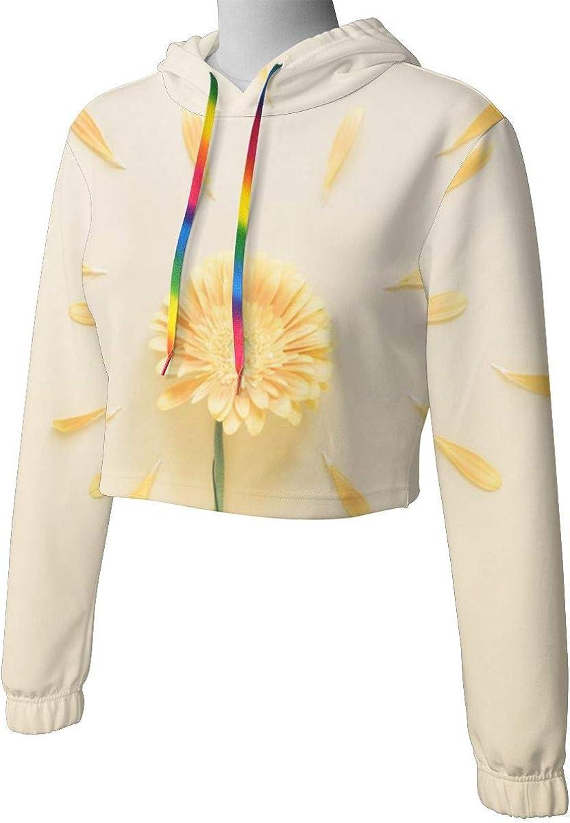 Flowers Background Womens Long Sleeve Letter Print Casual Sweatshirt Crop Top Hoodies
