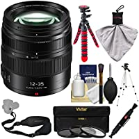 Panasonic Lumix G X Vario 12-35mm f/2.8 II ASPH Power OIS Lens with 3 Filters + Tripod + Sling Strap + Kit
