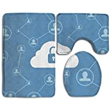 Blue Gaming Pattern Prints Non-Slip Bathroom Rugs 3 Piece Set Anti-skid Pads Bath Mat + Toilet Lid Cover + Contour