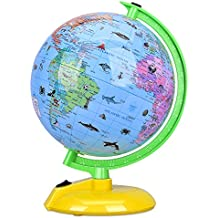 "Illuminated World Globe for Kids, 8"" Desktop Globe LED Night Light with Stand, Colorful, Easy-Read, Battery Operation, Globe Map Leaning Tool Educational Gift for Student"