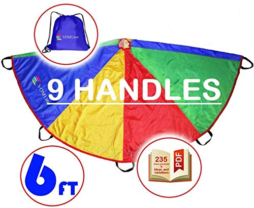 VOMLine Play Parachute 6ft 20ft for Kids with Dirt