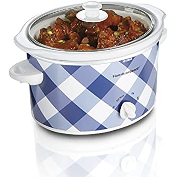 Hamilton Beach 3-Quart Slow Cooker With Dishwasher-Safe Crock & Lid, Blue Gingham (33232)