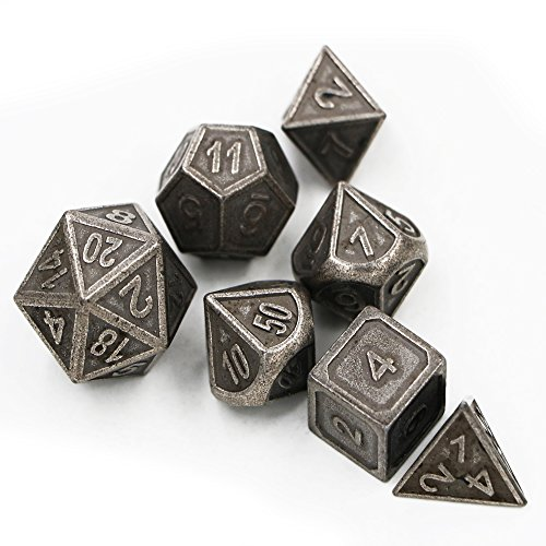 Dungeons & Dragons 7pcs/set Creative RPG Dice D&D Metal Dice DND Game Dice Different Color Nickel Carving ()