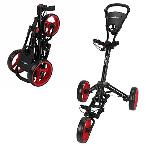 Caddymatic Golf X-Lite One-Click Folding Pull/Push Golf Cart Black/Red