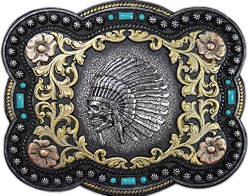 Nocona Men's Indian Chief Skull Belt Buckle, Antique Silver, OS