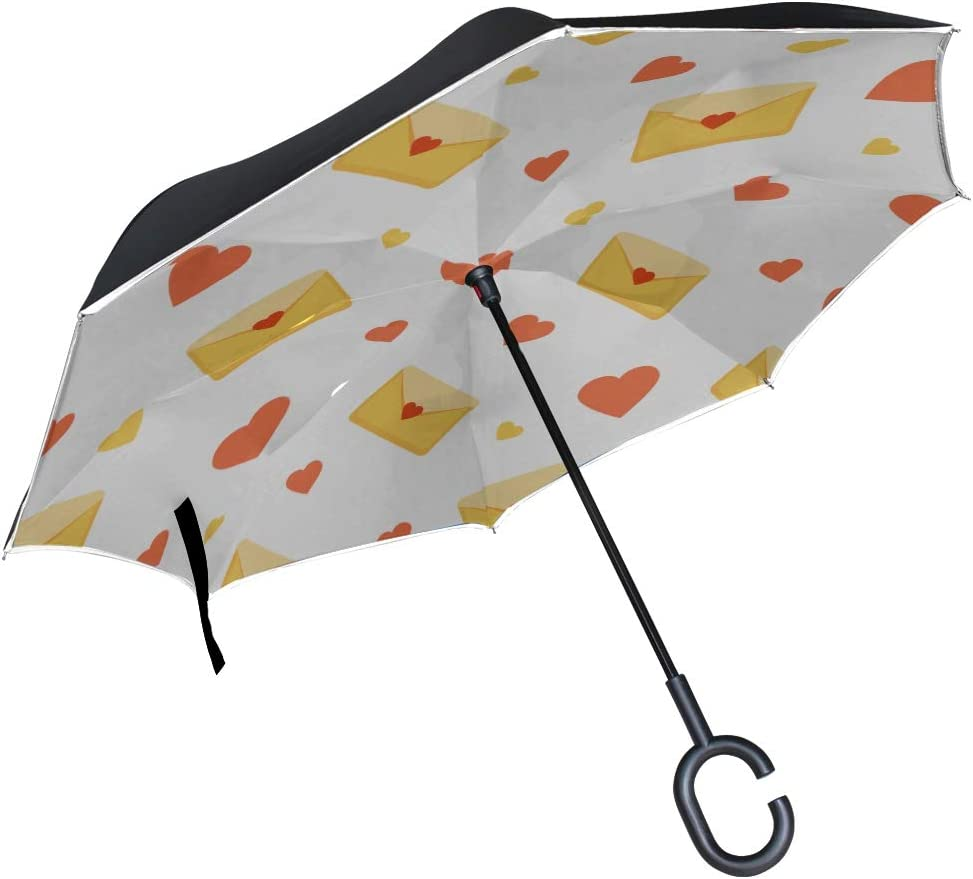 Double Layer Inverted Inverted Umbrella Is Light And Sturdy Pattern Yellow Envelopes Red Reverse Umbrella And Windproof Umbrella Edge Night Reflectio