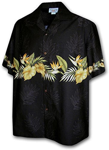 Hawaiian Shirt for Men - Black w/ Golden Flower Stripe, X-Large