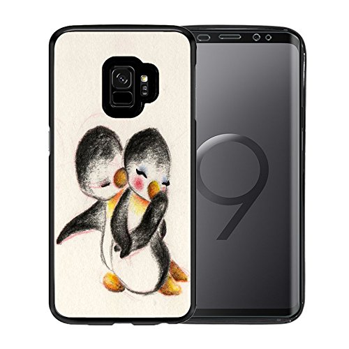 Cover For Samsung Galaxy S9 Case, TPU Black Case For for Samsung Galaxy S9 5.8 Inch - Cute penguin couples