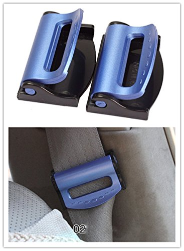 Nicebee 2Pcs Blue Universal Fit Car Seatbelt Adjuster Clip Belt Strap Clamp Shoulder Neck Comfort Adjustment Child Safety Stopper Buckle