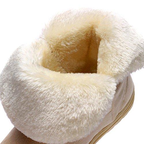 Maybest Dames Winter Klassieke Namaakbont Snow Enkellaars Mid-kalf Strik Platte Schoenen Beige