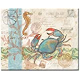 CounterArt Seaside/Blue Crab Glass Cutting Board, 15 x 12 Inches