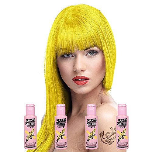 Crazy Colour Semi Permanent Hair Dye By Renbow Canary Yellow No.49 (100ml) Box of 4 by Crazy Color