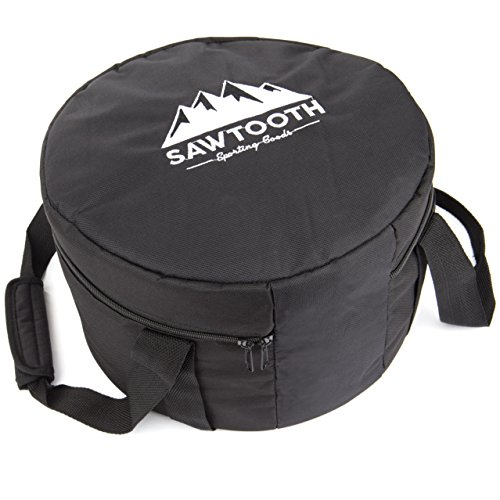 "Sawtooth Dutch Oven Tote Bag for Camping 14"" (2 Thick 600D Polyester, Comfortable Design Carry Straps & Handle – Foam Padding for Maximum Protection & Storage"