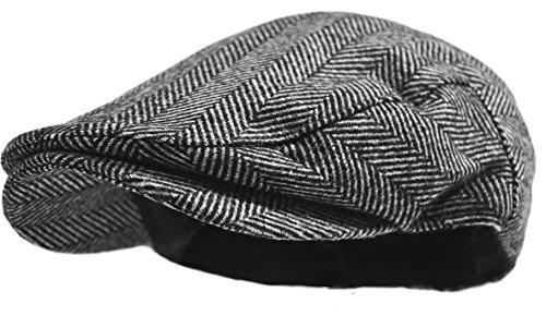 Wonderful Fashion Men's Herringbone Wool Tweed Newsboy Ivy Cabbie Driving Hat (Gray Herringbone)