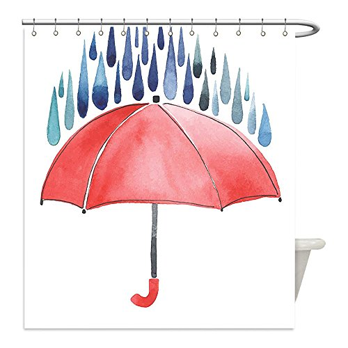Liguo88 Custom Waterproof Bathroom Shower Curtain Polyester Lake House Decor Rainy Quote Lettering with a Color Umbrella Cane Drizzle Hail Home Decor Red Blue Decorative bathroom