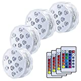 VIPMOON 4 Pack 10-LED RGB Submersible Lights, Multi Color Waterproof Light 24 Keys Remote Controller Vase Base, Floral, Aquarium, Pond, Party, Wedding, Halloween