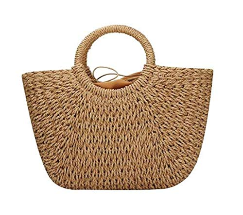 Straw Bag for Women Hand-woven Beach Rattan Bag Shopper Basket Casual Handbags Round Handle Ring Tote Retro Summer Beach Bag Round Handle Big Capacity Travel Tote ()